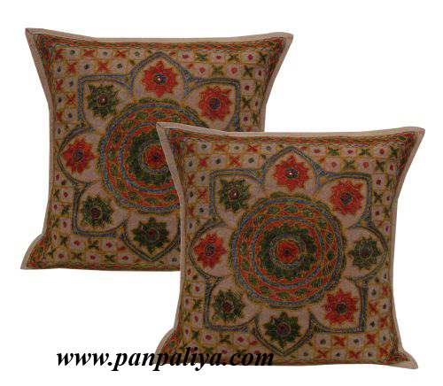 Indian Cushion Cover India Cushion Covers Hand Embroidery Mirror