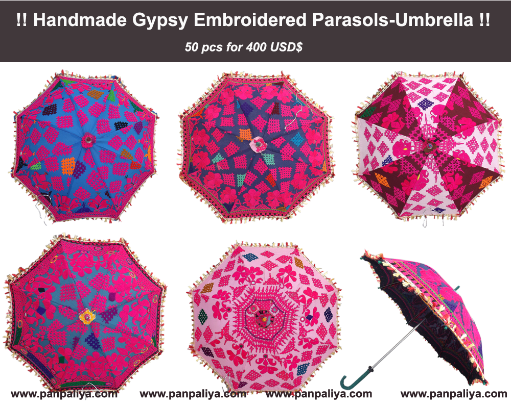 Wholesale Lot Indian Decorative Party Designer Umbrella Cotton Sun Parasol