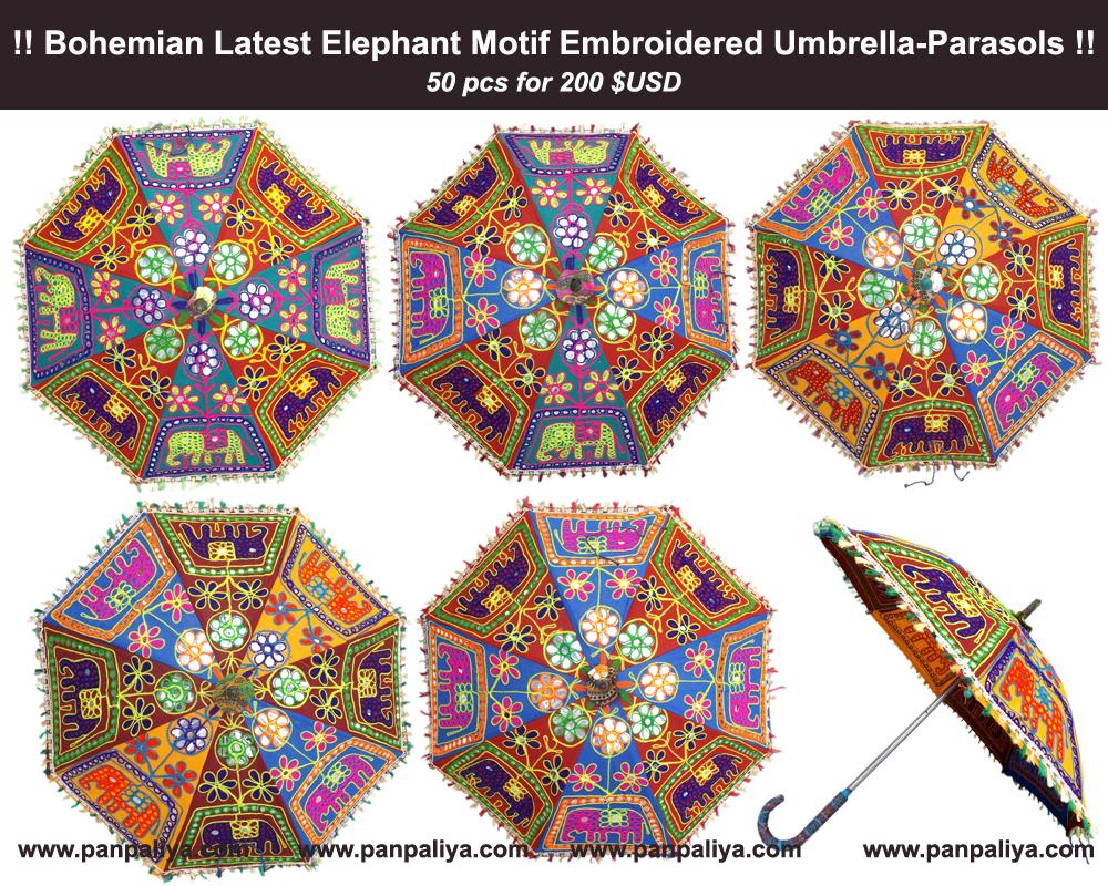 d3106a151f45c Product: Bohemian Latest Elephant Motif Embroidered Umbrella-Parasols