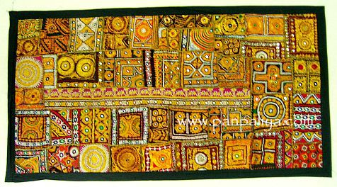 BOHO INDIAN ANTIQUE PATCH WORK THROW WALL HANGING