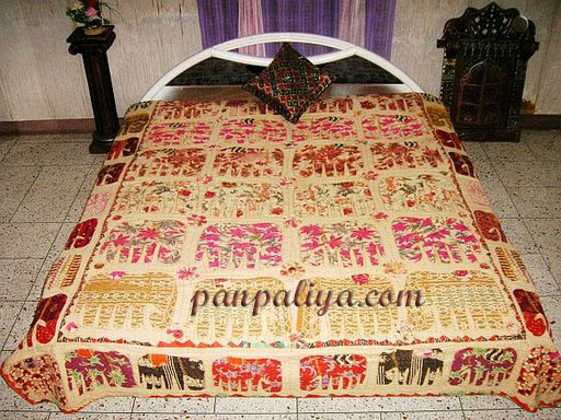Cotton Handmade Applique Work Elephant Bedspread From