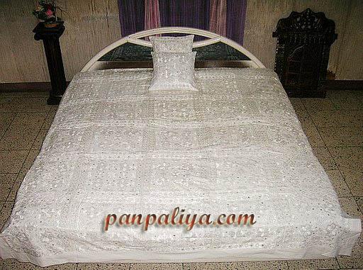White Mirror Work Wholesale Bedspreads India