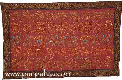 Indian Decorative Art Embroidered Handmade Cotton Wall