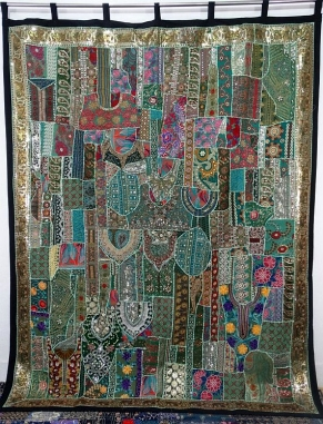 Product:: Vintage Sari Patchwork Tapestry Wall Hanging Curtains